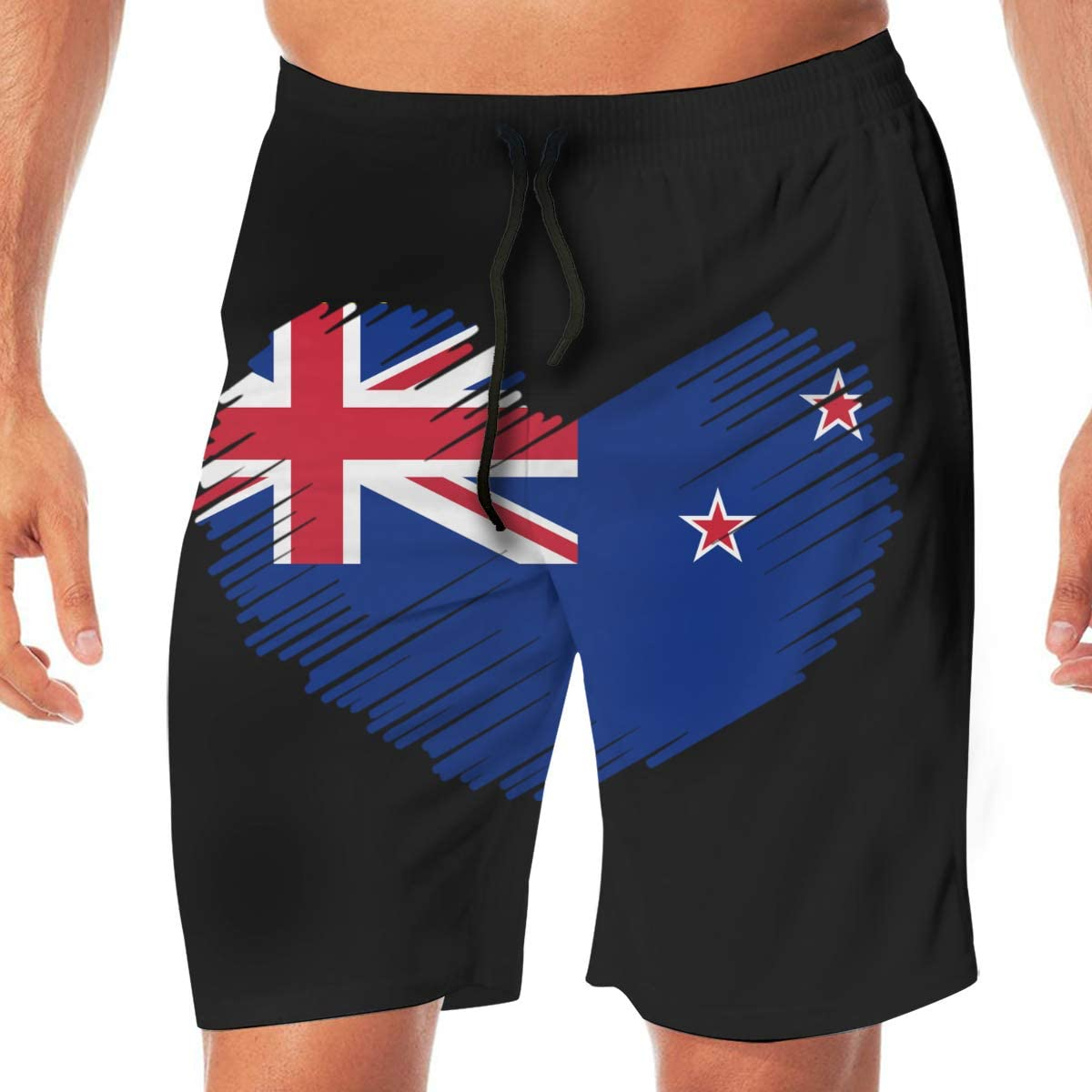 Mens Swim Shorts New Zealand Flag in Heart Shape Summer Vacation Beach Board Short with Pocket