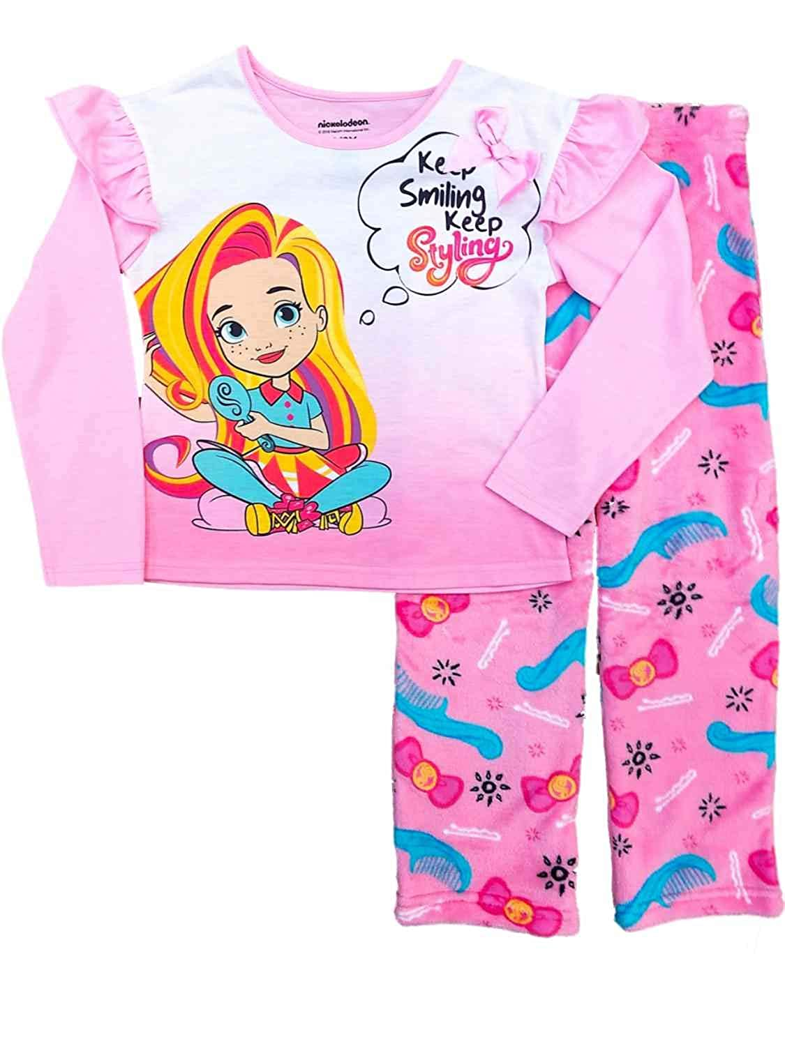 Sunny Day Girls Pink Pajamas Keep Smiling Tee /& Fleece Pants Sleep Set