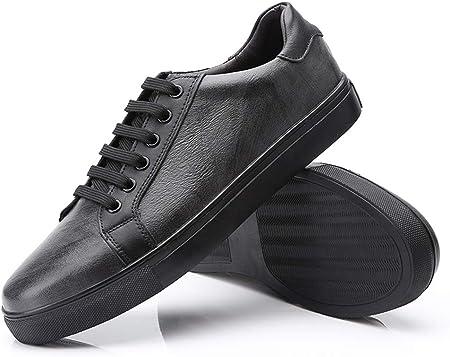 MADONG Zapatillas de Deporte de Moda Casual for Hombres Zapatos de Skate Deportivos Deportivos de Cuero de Microfibra con Cordones (Color : Blanco, tamaño : 47 EU)