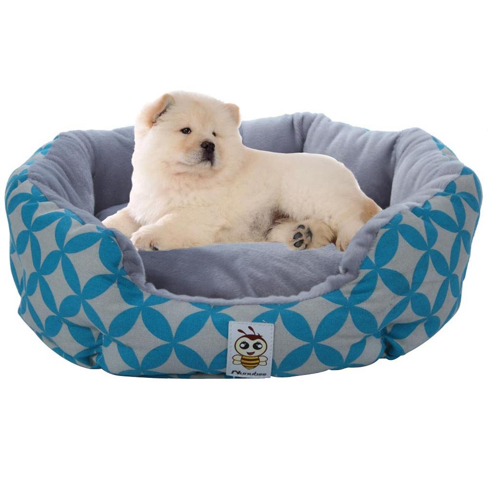 Nunubee SoftOval Dog Bed Animal Bed Pet Bed Kennel Animal Beds Cat Pad Waterloo Blue Round Pet House M-24x24x8 Inch