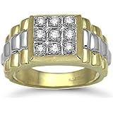 Jewelco London 9 Carat 2-Colour Gold 50pts DIAMOND Gents Ring