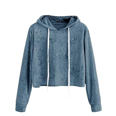 acdc1f154cbe38 Amazon.com: BCDshop Women Casual Crop Hoodie Sweatshirt Top Teen Girl Soft  Velvet Pullover Shirts: Clothing