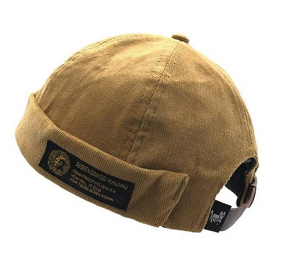 Mens Womens Corduroy Adjustable Brimless Hat Vogue Retro Skullcap Sailor Cap 7e4f6b8a3df7