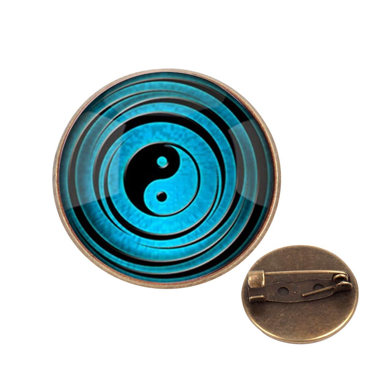 Pinback Buttons Badges Pins Blue Yin Yang Lapel Pin Brooch Clip Trendy Accessory Jacket T-Shirt Bag Hat Shoe