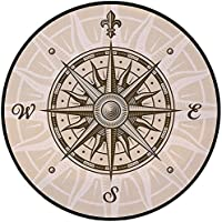 Printing Round Rug,Compass,Sun Motifs Backdrop with Sepia Windrose Directions East West North South Navigation Decorative Mat Non-Slip Soft Entrance Mat Door Floor Rug Area Rug For Chair Living Room,S