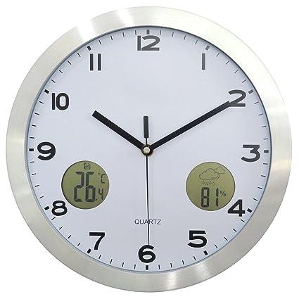 """YVSoo Reloj de Pared Moderno 12"""" Reloj de Pared Digital con Termómetro y Pronóstico del"""