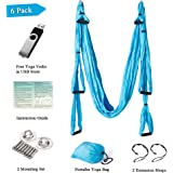 Yoga Swing/Hammock/Trapeze/Sling for Antigravity Yoga Inversion Exercises-(6 in 1) 2 Mounting sets/2 Extension Straps/Free Vedio in USB Flash Drive