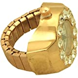 Women's Rhinestones Link Stretch Ring Watch rose gold tone - 5