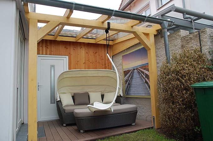 Luxbach GmbH - Cubierta para terraza (400 x 500 cm / 4 x 5 m, madera laminada, Pérgola BSH, placas alveolares de 16 mm): Amazon.es: Jardín