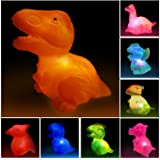 Aildysee Dinosaur Bath Toys 8 Packs Light Up Floating Rubber Toys for Baby Children Toddlers,Pool Water Bathtub Shower Toys f