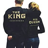 Eshions The King and His Queen Black Couple T-Shirt Round Neck Loose Couple Shirt Hoodies Pullover