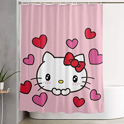 Hello Kitty Fabric Waterproof Shower Curtain Bathroom Curtain WithHooks Gift 70/""