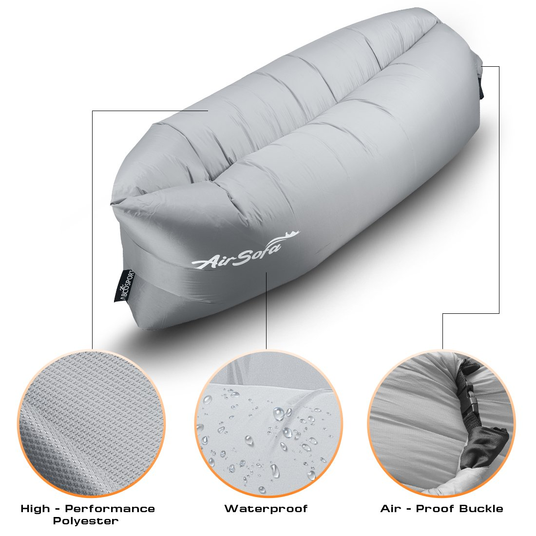 Sleeping bag suit moreover blow up air mattress as well bed inflatable - Inflatable Lounge Bag Hammock Air Sofa And Pool Float Parachute Material Ideal For Indoor Or Outdoor For Camping Hiking Lazy Bed Gray Amazon Co Uk