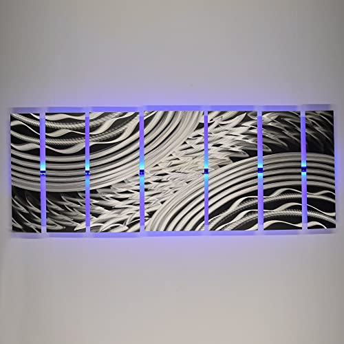 "Modern Abstract Metal Wall Art Large Metal Art Panels Silver ""Silver Storm"