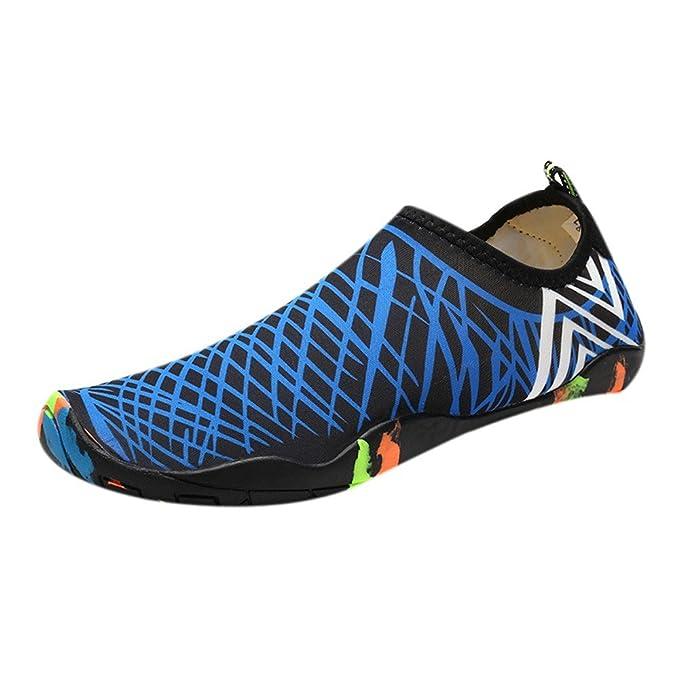 Hombre Mujer Senderismo Río Deportes Acuáticos Nadar Calzado Descalzo Zapatillas De Agua para Piscina Rayas Azul Shoes EU 36-36 YiYLunneo: Amazon.es: Ropa y ...