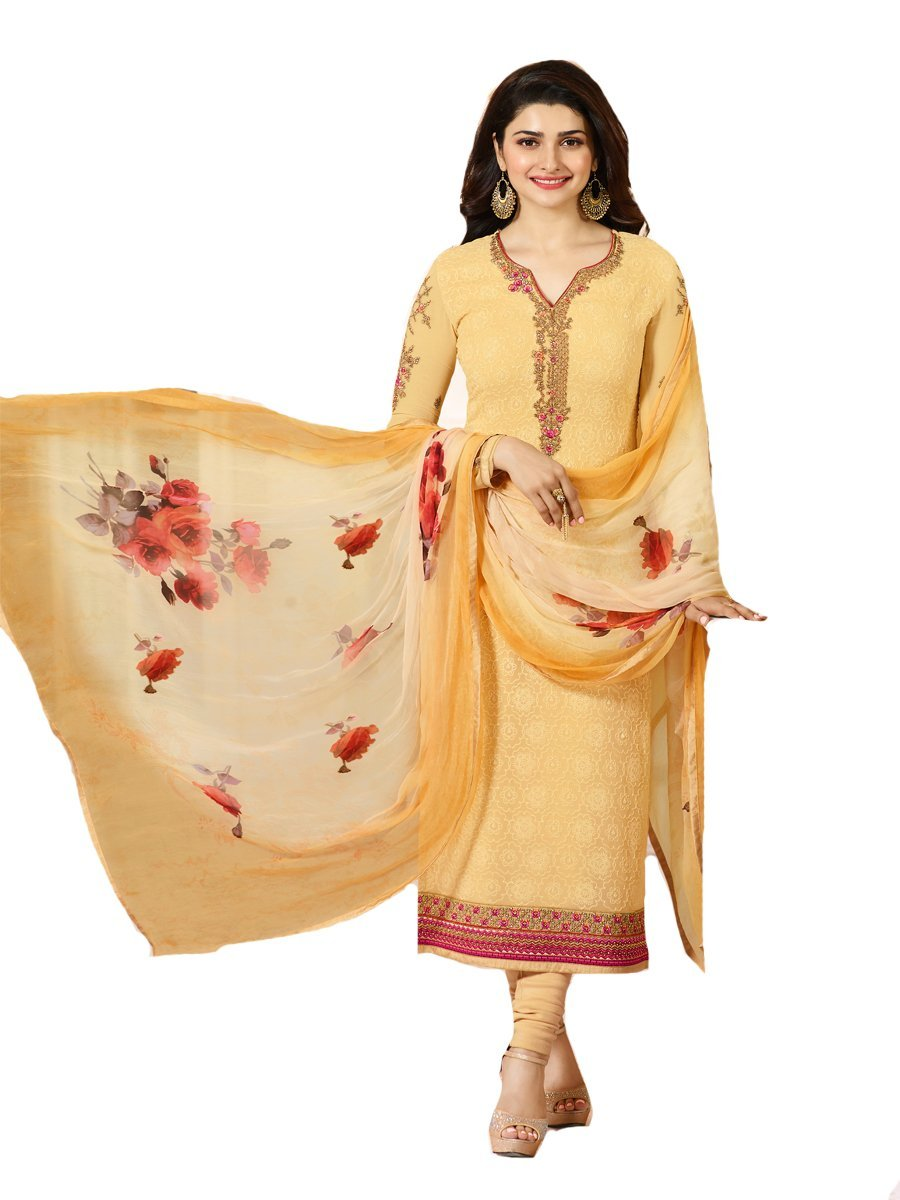 Ready Made Designer Indian Wear Straight Salwar Kameez Party Wear Timeless (Yellow, LARGE-42)