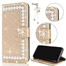 Sunroyal Pearl Case for Samsung Galaxy S6 Edge G9250,Vintage Fashion Glitter Pearl Diamond Floral Shockproof Cover Defender Luxury Sparkles Powder Flower Credit Card PU Leather+Anti dust plug - Gold