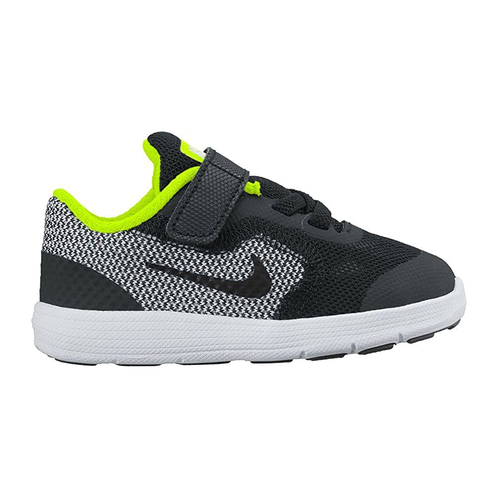 8 M US Toddler 819415 TDV Nike Kids Revolution 3 Black//White//Volt Running Shoe