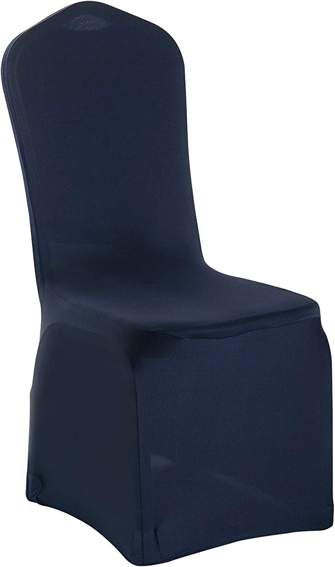 Gold Fortune Spandex Elastic Banquet Chair Covers For Wedding Party Hotal Dinning Living Room Reception (Navy)