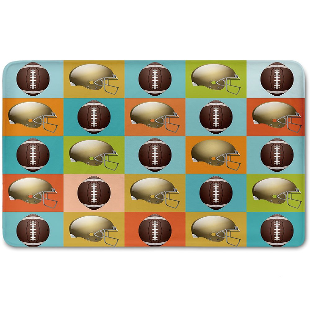Memory Foam Bath Mat,Football,Colorful Squares Mosaic Pattern with Protective Helmets and Balls College Activity DecorativePlush Wanderlust Bathroom Decor Mat Rug Carpet with Anti-Slip Backing,Multic by iPrint (Image #1)