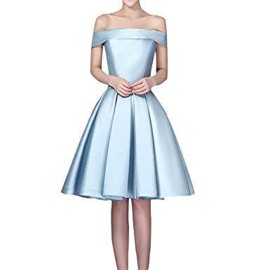 FASHION DRESS 2016 Womens Bridesmaid Off The Shoulder Satin Knee Length Prom Dress ...