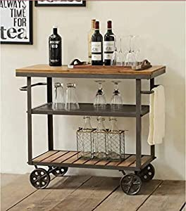 WGX Design For You Indoor or Outdoor Metal Wood Rolling Serving Cart on Wheels Kicthen Bar Dining Room Tea Wine Holder Serving Cart Furniture
