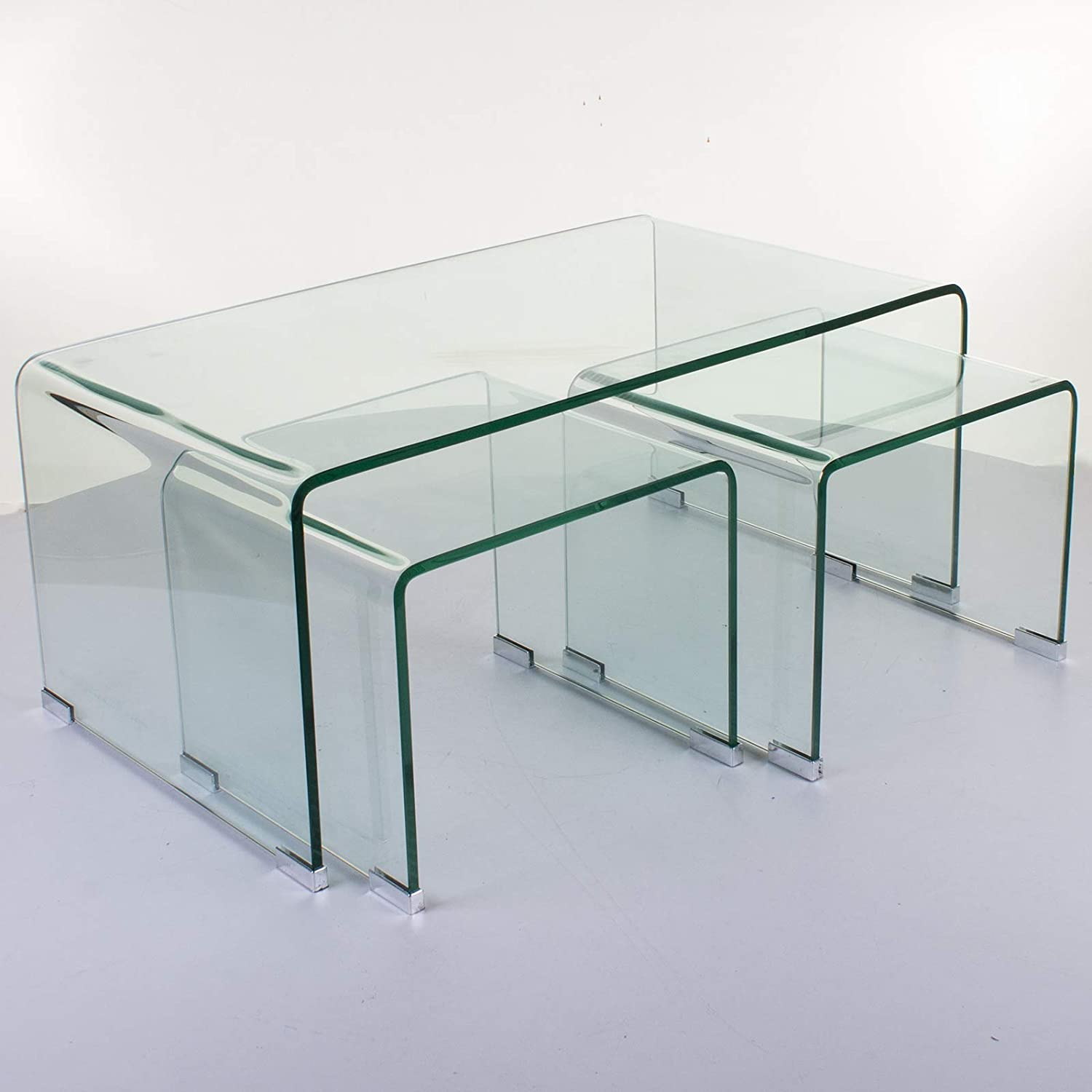 Marko Furniture Odense Set Of 3 Bent Glass Nested Coffee Side Table Set Curved Transparent Tempered Amazon Co Uk Kitchen Home