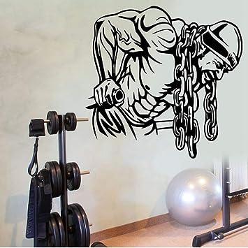 Mhdxmp Etiqueta Engomada Del Gimnasio Ironmen Fitness Cadena De Hierro Crossfit Mancuerna Calcomanía Body-Building Posters Tatuajes De Pared Parede ...