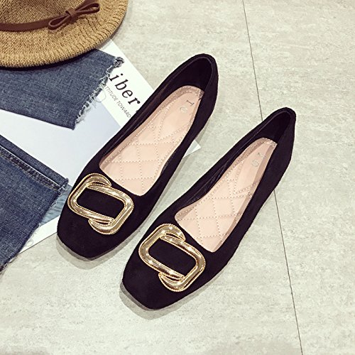 Black Spring Side Shoes Suede Slip Autumn In Flat Season Bottomed Thirty Shoe Six Shoes Buttons And Anti Metal Single KPHY The Women'S AzqwI1