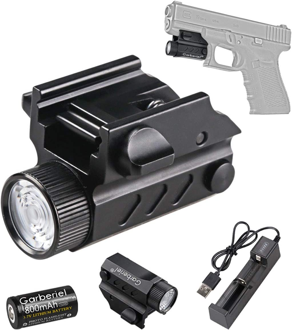 HECLOUD Rechargerable Glock Pistol Tactical Flashlight, 550 Lumens Flashlight, 50-80M Rang, Fits Well on All Glock Handgun and Picatinny Rail, MIL-STD-1913 Rail, STANAG 2324 Rail