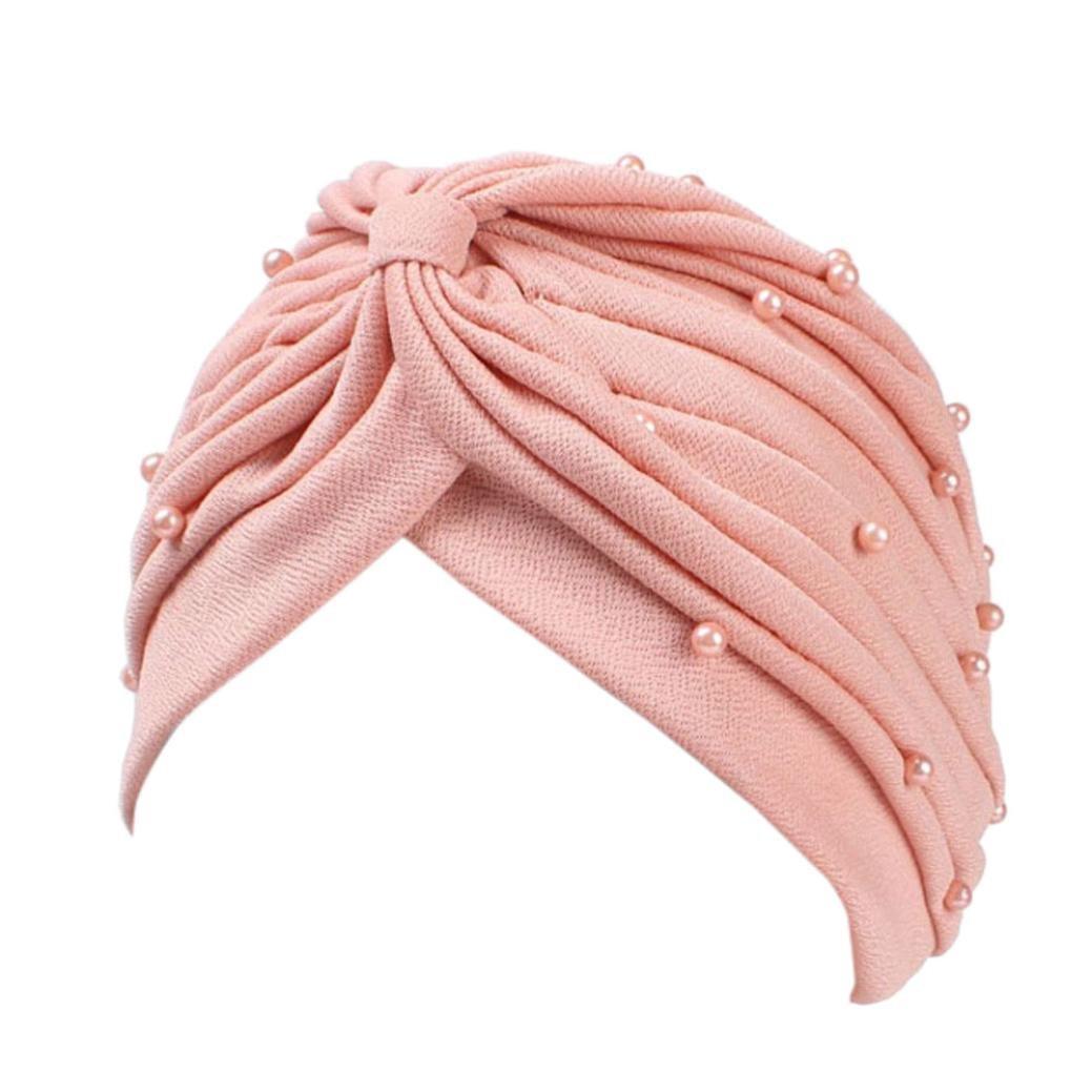 Muslim Hat, ღ Ninasill ღ Exclusive Ruffle Hat Pearl Beanie Scarf Turban Head Wrap Cap (Pink)