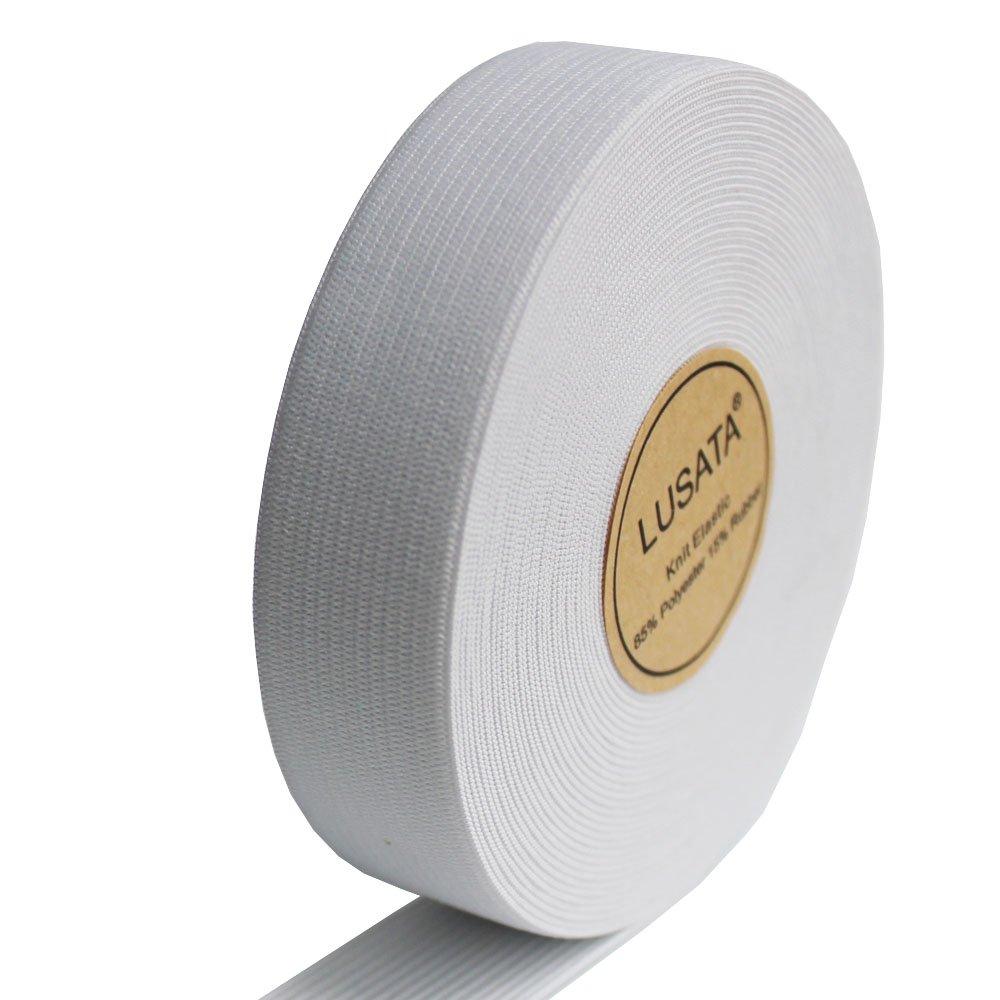 lusata 1-inch Wide White Knit Elastic Spool Heavy Stretch High Elasticity Knit Elastic Band 10 Yard