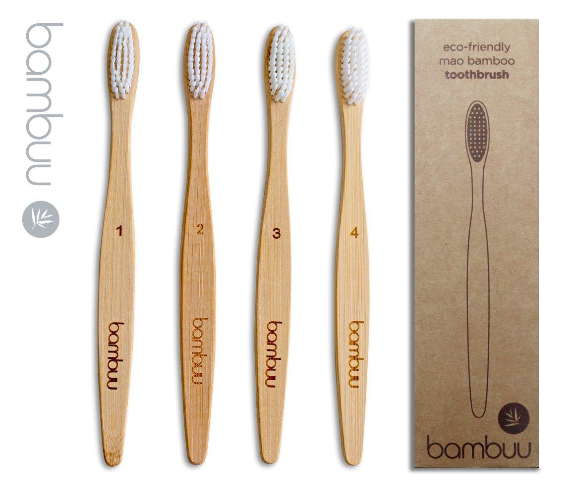 Cepillo de dientes de bambú (paquete de 4 unidades, respetuoso con el medio ambiente, de madera, 100% biodegradable, cerdas suaves, tamaño mediano, ...