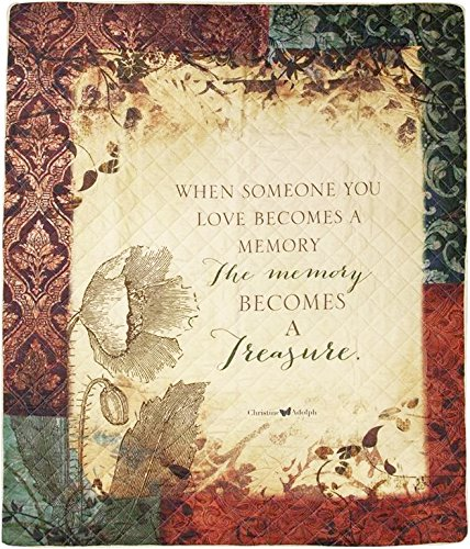 The Memory Becomes A Treasure Sympathy Gift Quilt Blanket to Send for Funeral Memorial When Someone Loses A Loved One ()
