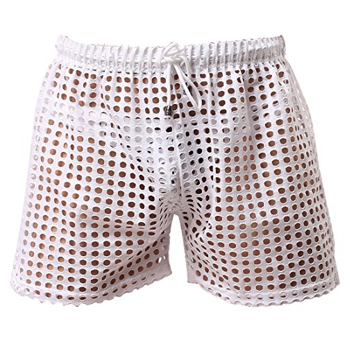 (FEESHOW Men's See-Through Mesh Loose Shorts Lounge Underwear Cover up Boxer Trunks White Hollow L)