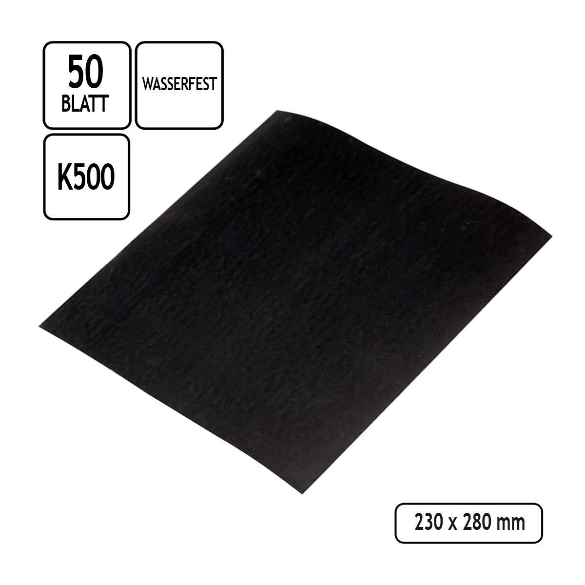 50 Blatt Schleifpapier wasserfest Korn 500 Nassschleifpapier Schleifbogen