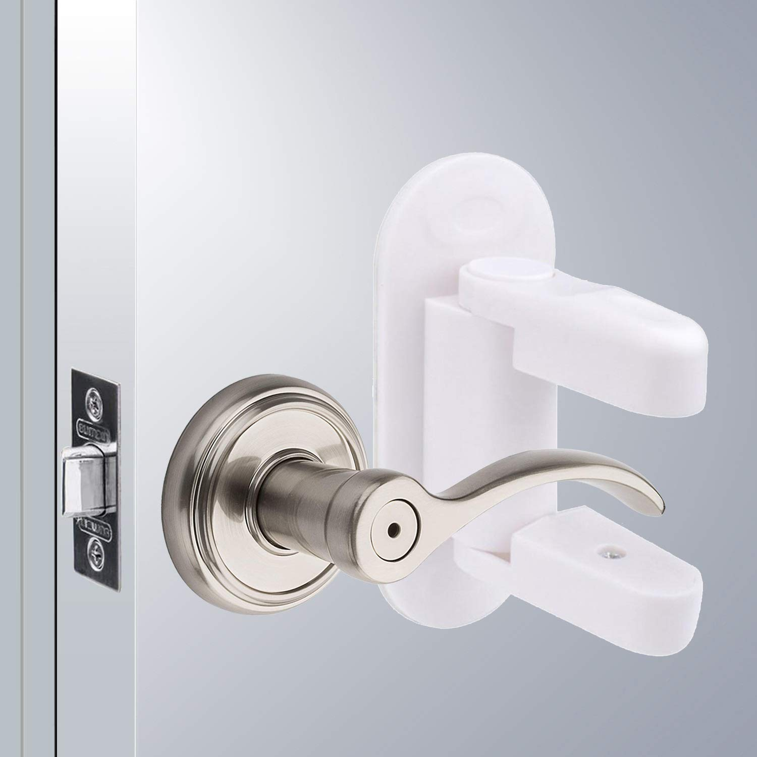Child Proof Door Lever Lock - OKEFAN 4 Pack Childproof Safety Baby Door Handle Locks for Kids Adhesive Proofing Doors No Drilling Tools Needed