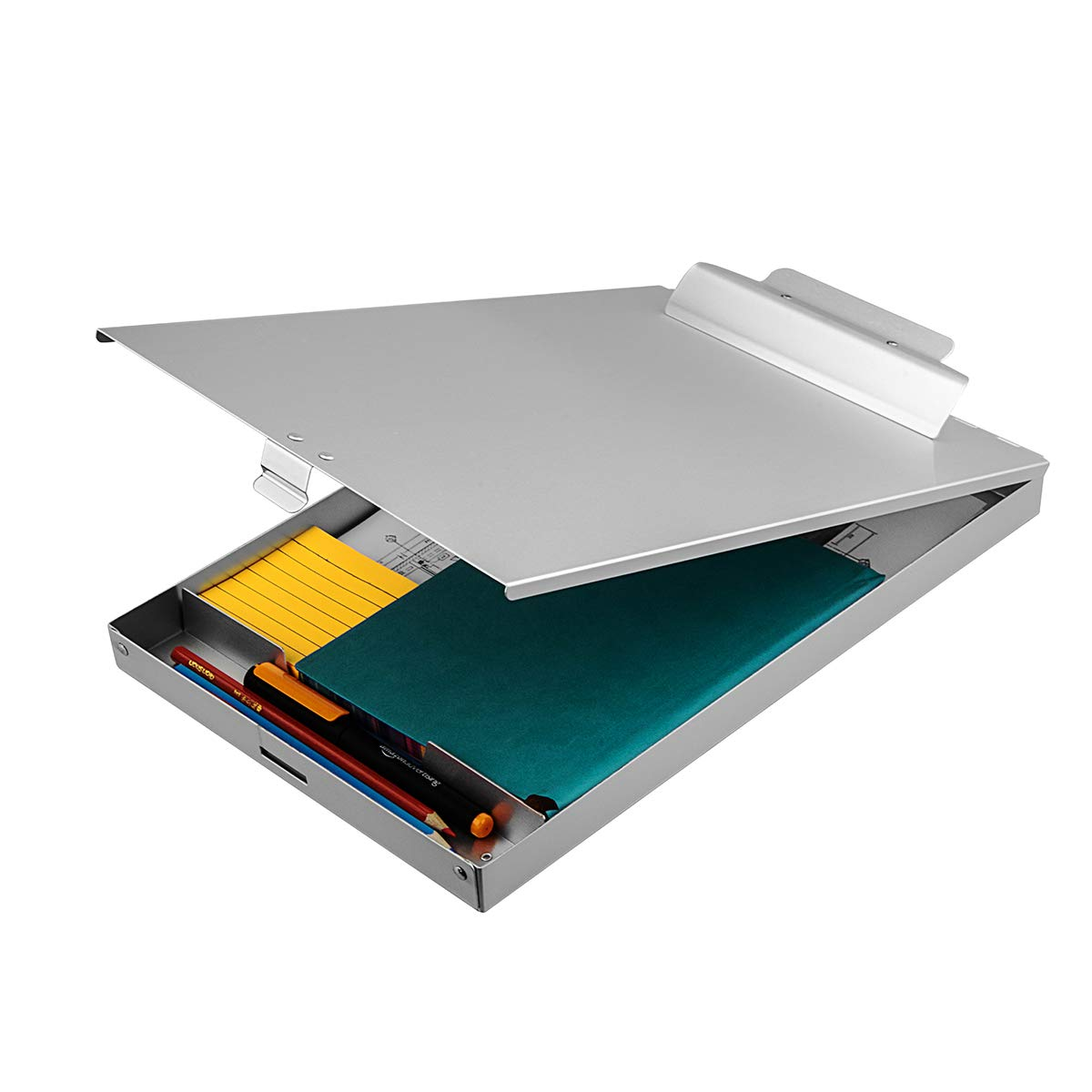 ZCZN Recycled Aluminum Storage Clipboard, Clipboard Box, Form Holder, Suitable for School, Office, Jobsite or Medical Staff,Silver by ZCZN
