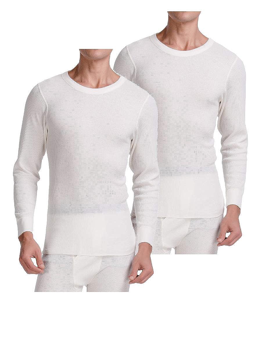CYZ Mens Long Sleeve Mid Weight Waffle Thermal Crew Top or Long John Set