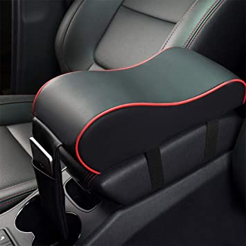 ZaCoo Car Center Console Armrest Cushion Comfort Pillow Pad PU Leather Gray