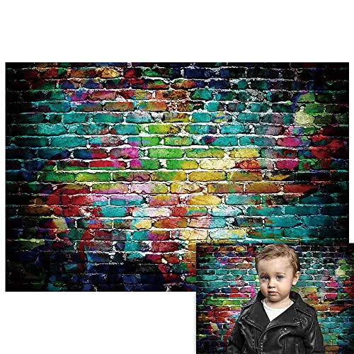 Funnytree 5x3ft Colorful Graffiti Brick Wall Backdrop for Photography Vintage Portrait Painting Background 80s 90s Hip Hop Party Decoration Photo Booth Photoshoot Banner Supplies Favors