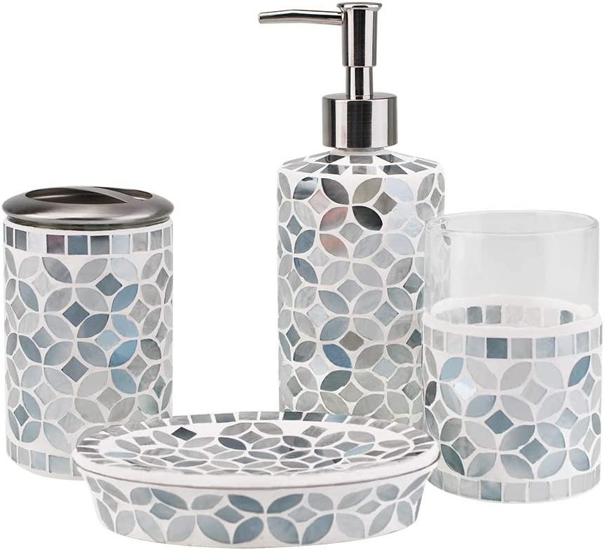 4-Piece Housewares Glass Mosaic Bathroom Accessories Set, Durable Bath Organizer Includes Soap Dispenser Pump, Toothbrush Holder, Tumbler, Soap Dish Sanitary, High Class Home Decor Gift (Gray-bue)
