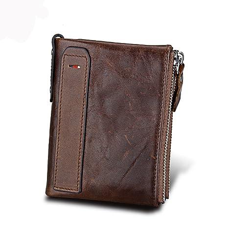 kinokoo Billetera corta para hombre RFID que bloquea la cartera doble de las cremalleras del cuero
