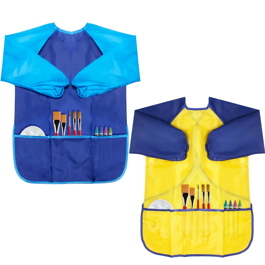 Cubaco Kids Painting Apron, 2 Packs Waterproof Art Smocks for Child 3-8 Years, Children Artist Apron with Long Sleeve and 3 Pockets