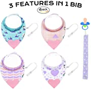 Tickles&Wiggles Organic Baby Bandana Bibs for Teething, Drooling Infant - Teether, Adjustable Snaps, Pacifier/Toy Tether