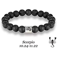 Scorpio Zodiac Signs Beads Bracelets Colorful Lava Stone Beads Bracelet (Black)