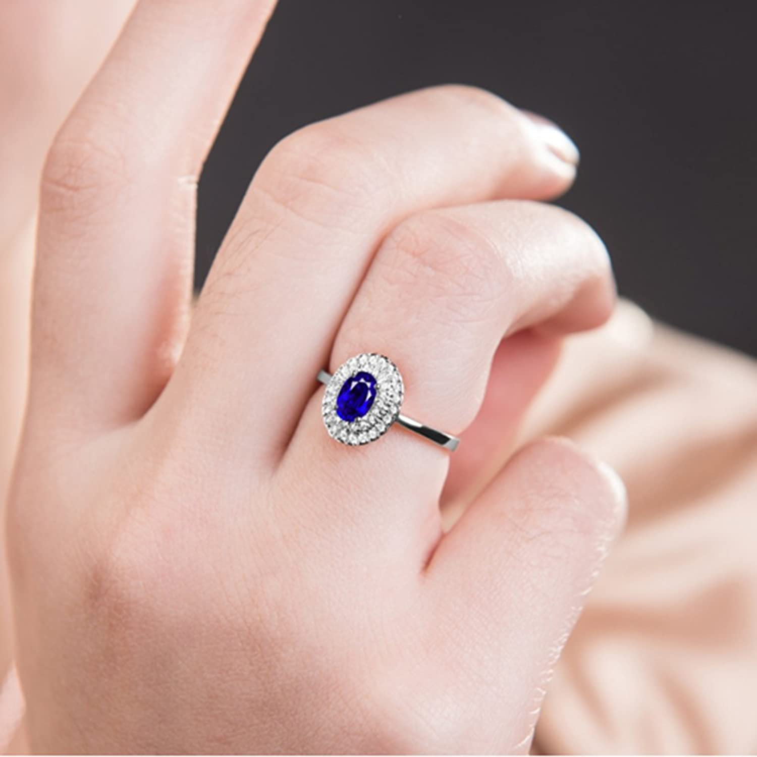 Amazon.com: Kardy Fashion 14K White Gold Oval Sapphire & White ...