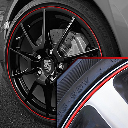 Wheel Bands Red in Black Pinstripe Rim Edge Trim for Porsche Cayenne