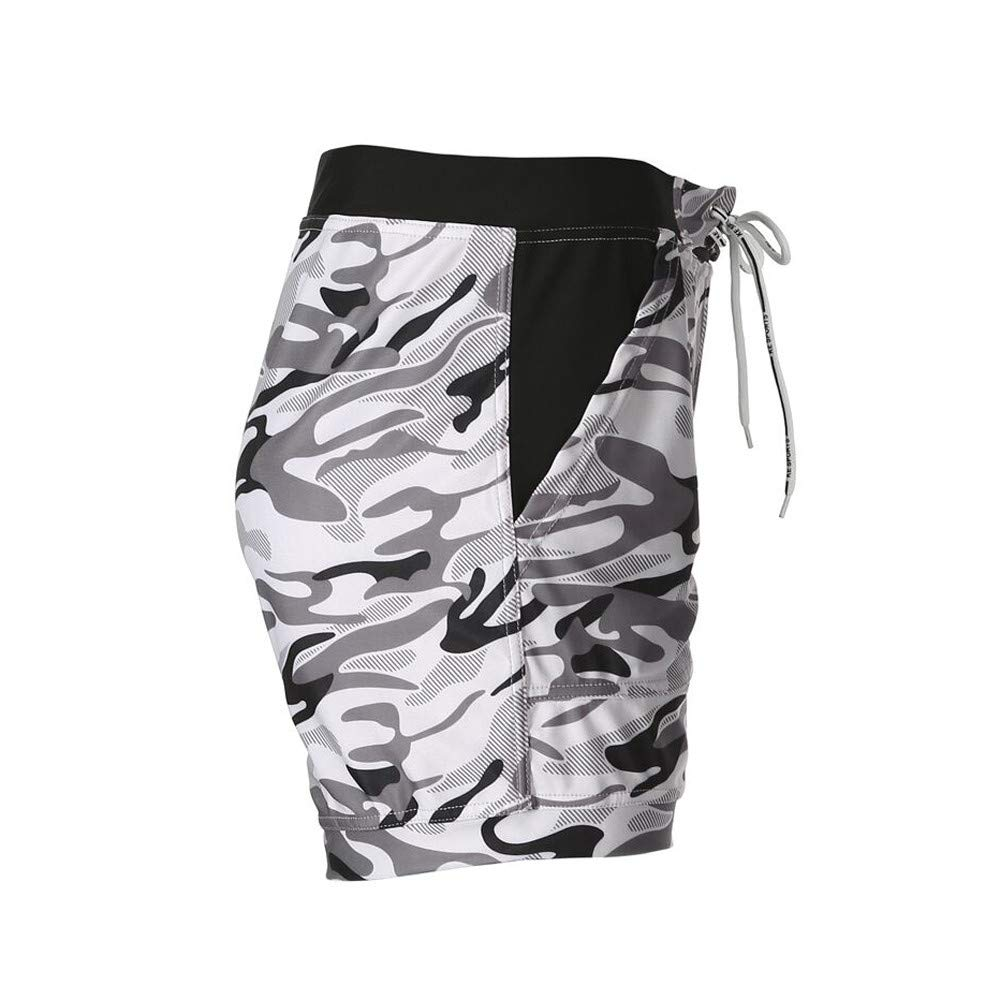 STORTO Mens Camouflage Boxer Briefs Swimming Surfing Trunks Bandages Pockets Board Shorts Swimwears