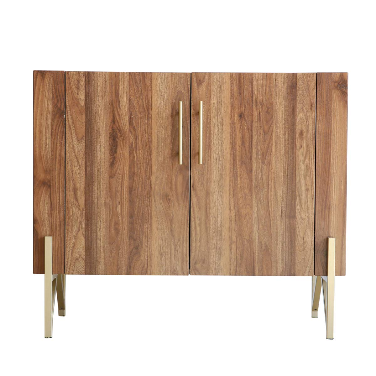Roomfitters Mid Century Side Board, Dining Room Server, Credenza, Side Board, Buffet, Elegant Walnut Finish with Gold Legs by Roomfitters (Image #2)